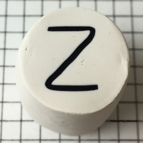 Letter Z finished polymer clay cane