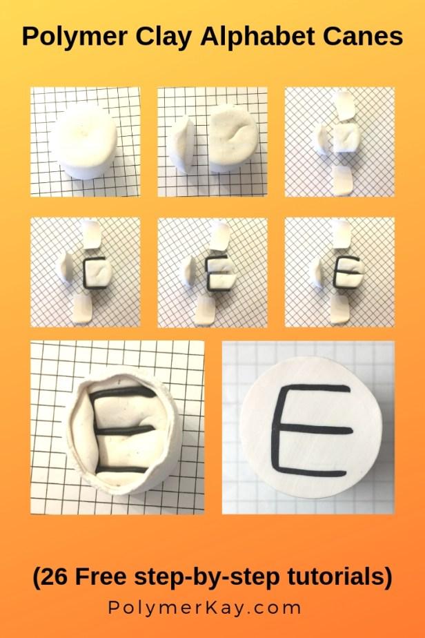 Letter E polymer clay alphabet cane tutorial - KayVincent