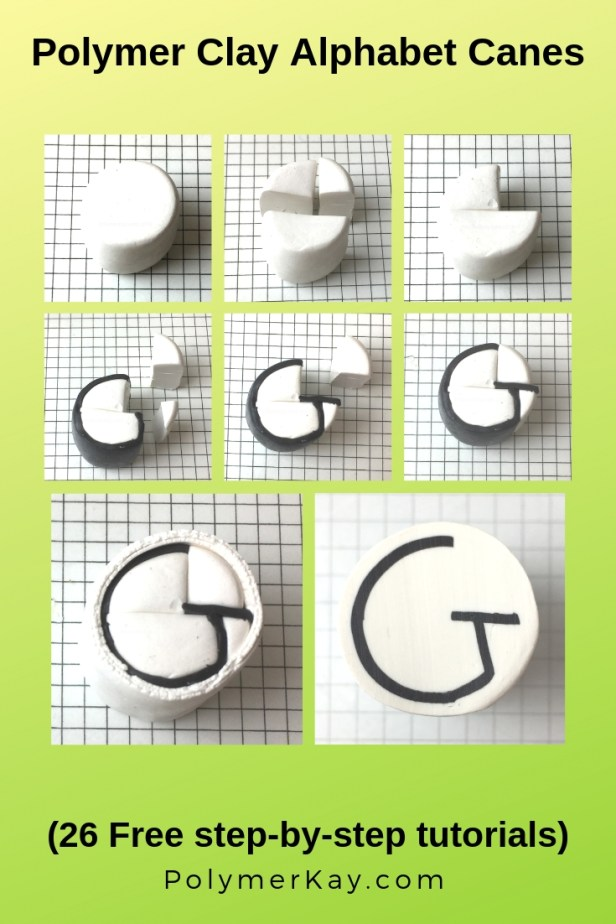 Letter G polymer clay alphabet cane tutorial graphic - KayVincent