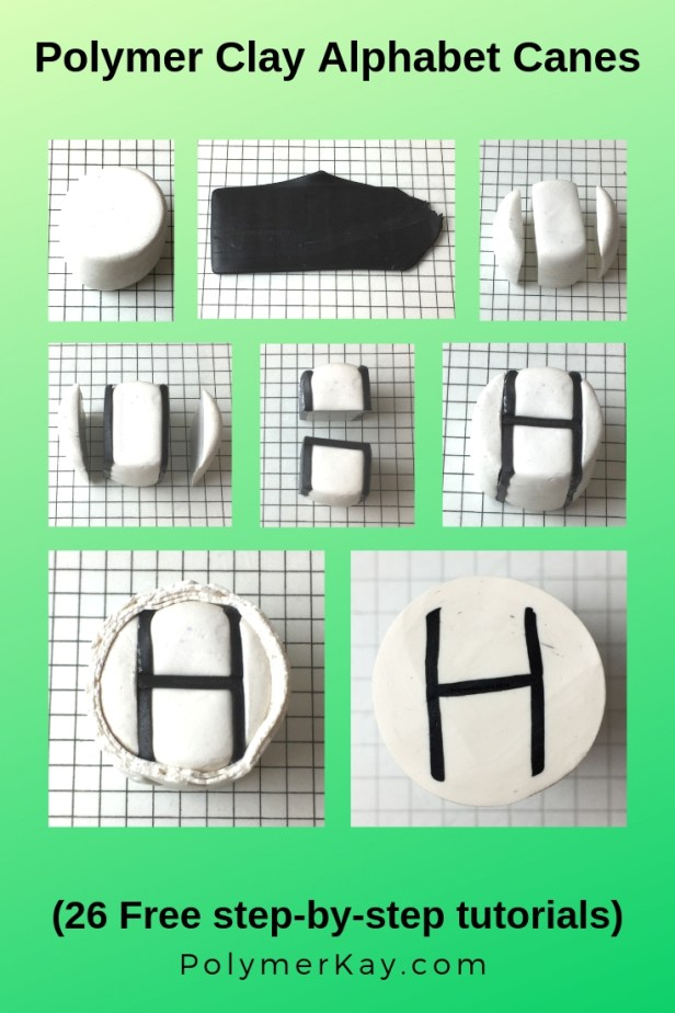 Letter H polymer clay alphabet cane tutorial graphic - KayVincent