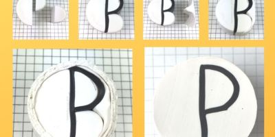Letter P polymer clay alphabet cane tutorial graphic - KayVincent