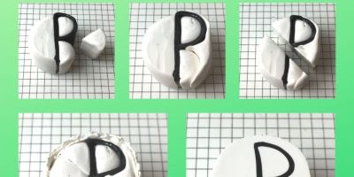 Letter R polymer clay alphabet cane tutorial graphic - KayVincent