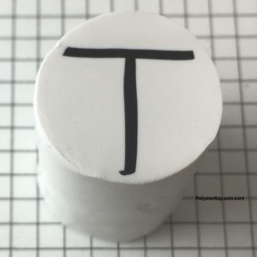Letter T polymer clay alphabet cane tutorial - KayVincent