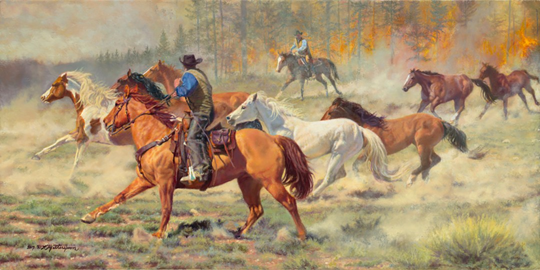 """Race Against Time"" © by K Witherspoon, 14"" x 28"", oil on linen, is available through Trailside Galleries, Jackson, WY"