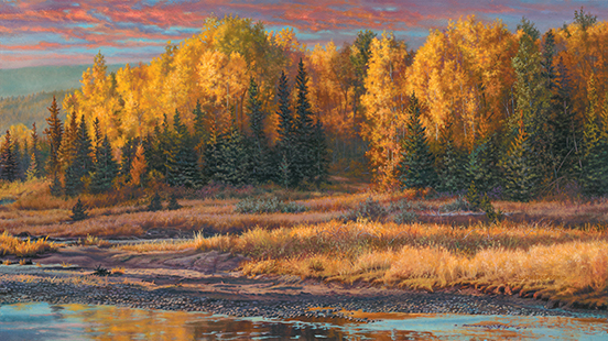 """""""After the Rain"""" © Kay Witherspoon, 18"""" x 32"""", oil on linen (SOLD), canvas giclée prints available"""
