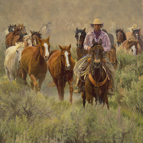 """""""Living' The Dream"""" ©Kay Witherspoon, 24"""" x 24"""" oil on linen (SOLD), canvas giclée prints available"""