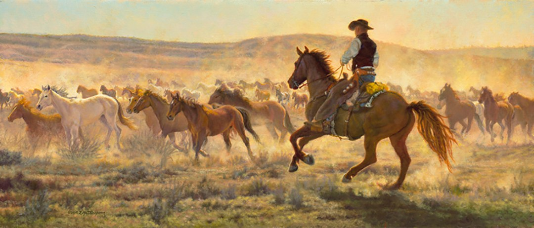 """Out West"" © Kay Witherspoon, 12"" x 28"", oil on linen"