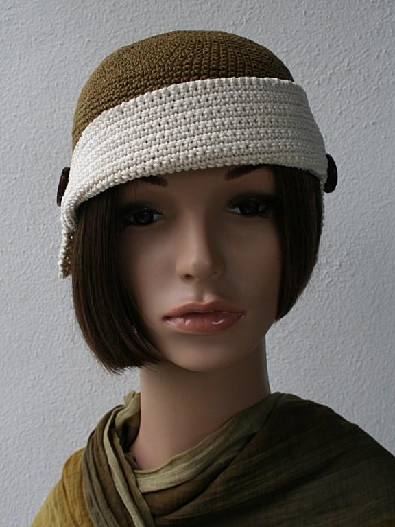 bonnet retro bronze et ecru face 1