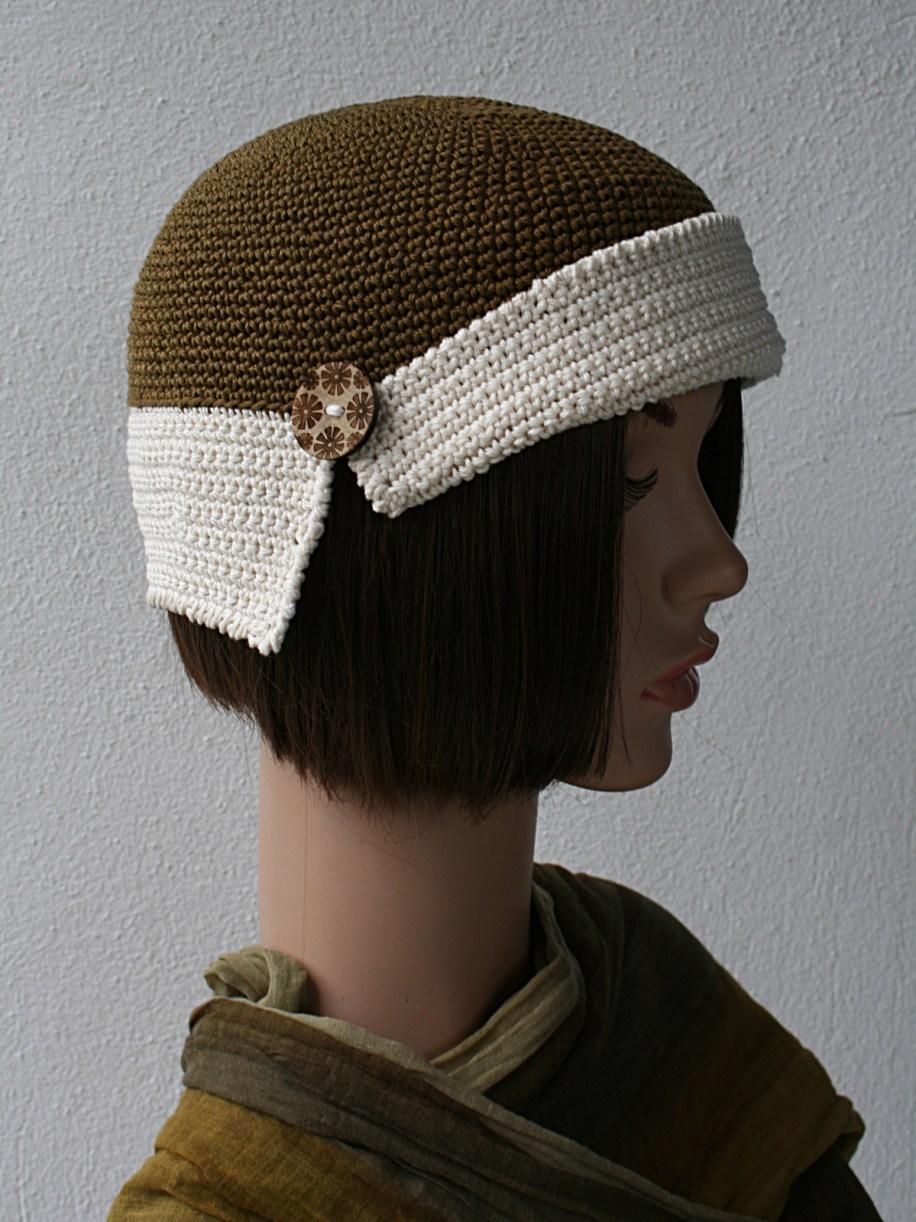 bonnet retro bronze et ecru profil 4