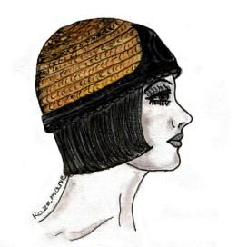"""Croquis Kazamarie petit chapeau """"casque"""" nouvelle collection 2015"""