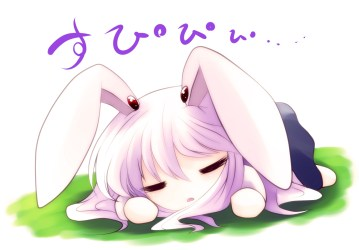 anime chibi kawaii reisen sleeping sleepy cute animal bunny inaba udongein ears drawings touhou chibis animals person wallpapers