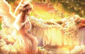 Konachan.com - 186025 2girls blonde_hair bow braids brown_eyes brown_hair clouds dress flowers headdress leaves long_hair orange sky sleeping sunset touhou tree wings