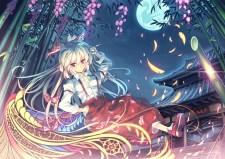 Konachan.com - 187425 blonde_hair bow brown_eyes cigarette feathers fujiwara_no_mokou long_hair moon orita_enpitsu touhou tree