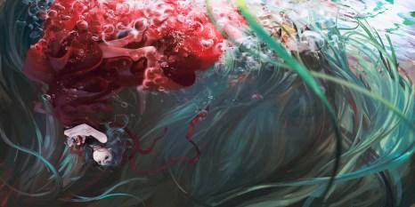 Konachan.com - 189108 bubbles dress jq kagiyama_hina touhou underwater water
