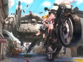Konachan.com - 181970 2girls black_hair blonde_hair gloves kfr kneehighs motorcycle original red_eyes seifuku skirt twintails