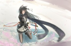 Konachan.com - 190191 black_hair cherry_blossoms glasses green_eyes katana kikivi long_hair pantyhose petals phantasy_star_online_2 scarf skirt sword weapon