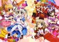 Konachan.com - 191461 animal_ears asteion bunny_ears catgirl corona_timir cosplay dress fujima_takuya panties rio_wezley sacred_heart scan tail thighhighs underwear vivio