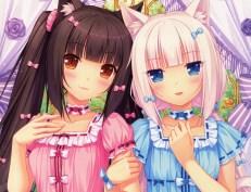 Konachan.com - 192435 animal_ears black_hair blue_eyes blush brown_eyes cat_smile catgirl choker long_hair original pink_hair sayori scan twintails vanilla_(sayori)