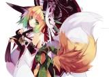Konachan.com - 192638 animal_ears bell blonde_hair foxgirl green_eyes green_hair japanese_clothes mask shirokitsune tail umbrella