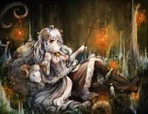 Konachan.com - 194269 animal boots horns kajaneko long_hair orange_eyes original pantyhose sheep sheepgirl skirt staff white_hair