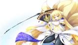 Konachan.com - 194338 animal_ears foxgirl katana kyoukai_senjou_no_horizon multiple_tails sword tail weapon