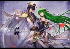 Konachan.com - 184799 black_hair cape cc code_geass green_hair hat lelouch_lamperouge petals purple_eyes ryuuzaki_itsu uniform yellow_eyes