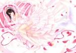 Konachan.com - 184872 bicolored_eyes black_hair blush bra date_a_live elbow_gloves flowers garter nopan panties petals ribbons rose thighhighs underwear wedding_attire