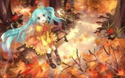 Konachan.com - 188994 aqua_eyes aqua_hair autumn fairy hatsune_miku kneehighs leaves long_hair sen_ya tree twintails vocaloid