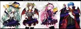 Konachan.com - 189303 animal_ears elbow_gloves fang halloween hat hatsune_miku horns kaito male megurine_luka meiko pumpkin vampire vocaloid wings witch witch_hat
