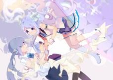 Konachan.com - 190009 2girls blue_eyes blue_hair hassan_(sink916) hatsune_miku microphone paper twintails vocaloid