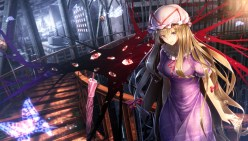 Konachan.com - 190985 blonde_hair bow building butterfly dress hat long_hair ryosios stairs touhou yakumo_yukari yellow_eyes