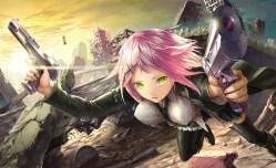 Konachan.com - 196605 boots green_eyes gun original pink_hair ruins short_hair skirt thighhighs tie tyappygain weapon
