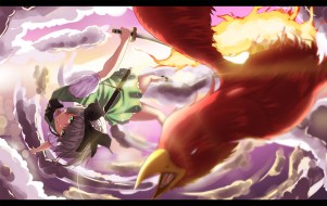 Konachan.com - 196638 animal bird bow fire gray_hair green_eyes hk_(zxd0554) konpaku_youmu ribbons sword touhou weapon