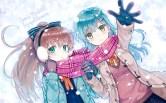 Konachan.com - 192199 2girls aqua_eyes blue_hair brown_hair earmuffs gloves hiten_goane_ryu kumano_(kancolle) long_hair scarf snow suzuya_(kancolle) winter