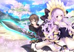 Konachan.com - 201869 blue_eyes bow braids brown_hair clouds dress headdress kabako long_hair male original purple_eyes purple_hair short_hair sky staff sword weapon