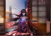 Konachan.com - 205515 black_hair building cherry_blossoms katana long_hair mechagirl mikazuki_industry original petals red_eyes sword weapon
