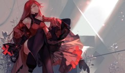 Konachan.com - 206031 dress flowers gun joseph_lee jpeg_artifacts long_hair pixiv_fantasia red_eyes red_hair thighhighs weapon