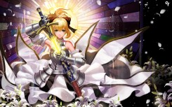 Konachan.com - 208993 armor blonde_hair fate_stay_night fate_unlimited_codes flowers green_eyes liang_xing saber saber_lily sword weapon