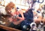 Konachan.com - 199717 anmi blue_eyes breasts brown_hair bubbles choker cleavage dress flowers idolmaster idolmaster_cinderella_girls scan takagaki_kaede wristwear