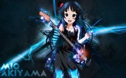 Konachan.com - 199728 akiyama_mio black_eyes black_hair blackrose14344 dress guitar headdress instrument k-on! long_hair watermark