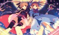 Konachan.com - 199764 2girls bow dress fate_testarossa leotard long_hair mahou_shoujo_lyrical_nanoha petals ribbons staff takamachi_nanoha twintails yashiro_seika