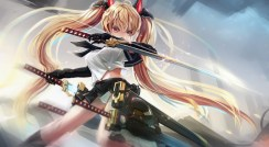 Konachan.com - 213965 blonde_hair kikivi long_hair original panties red_eyes seifuku sword underwear weapon