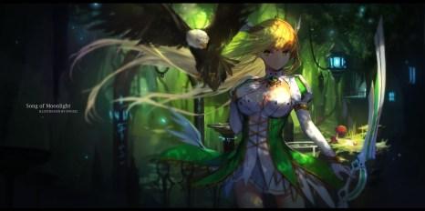 Konachan.com - 214498 animal bird blonde_hair breasts cleavage elbow_gloves elsword long_hair rena_(elsword) swd3e2 sword weapon yellow_eyes