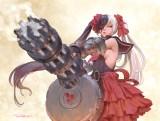 Konachan.com - 216425 armor black_hair blade_&_soul elbow_gloves eyepatch gray_eyes gun long_hair no_bra po_hwa_ran signed twintails weapon white_hair