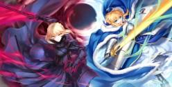 Konachan.com - 218282 2girls armor blonde_hair blue_eyes cape fate_(series) fate_stay_night kousaki_rui saber saber_alter sword weapon yellow_eyes