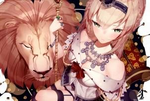 konachan-com-227198-animal-atha-blonde_hair-bow-braids-crown-dress-garter-garter_belt-green_eyes-headdress-kantai_collection-lion-long_hair-necklace-staff