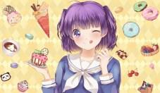 konachan-com-200775-cake-cherry-drink-food-fruit-hoshino_ryuu-ice_cream-lollipop-morino_kirin-purple_eyes-purple_hair-seifuku-short_hair-strawberry-twintails-wink