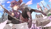 konachan-com-200836-boots-bow-brown_hair-building-city-clouds-gloves-hat-long_hair-necklace-original-pantyhose-paper-petals-red_eyes-ribbons-saraki-shorts-sky
