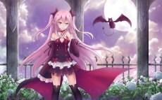 konachan-com-201040-animal-asakurashinji-bat-cape-collar-fang-flowers-krul_tepes-moon-night-owari_no_seraph-pink_hair-pointed_ears-thighhighs-vampire