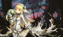 konachan-com-216467-blonde_hair-bodysuit-bow-chain-fate_extra-fate_extra_ccc-fate_series-flowers-gloves-green_eyes-headdress-long_hair-saber_bride-saber_extra-seeker